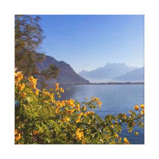 Flowers at Geneva lake, Montreux, Switzerland Canvas Print