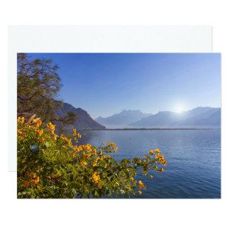 Flowers at Geneva lake, Montreux, Switzerland Card