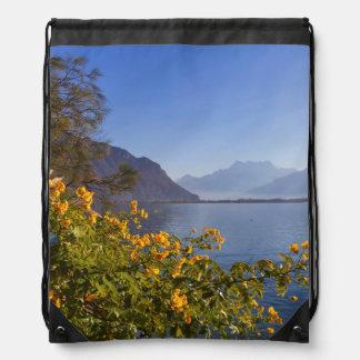 Flowers at Geneva lake, Montreux, Switzerland Drawstring Bag