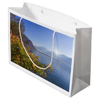 Flowers at Geneva lake, Montreux, Switzerland Large Gift Bag