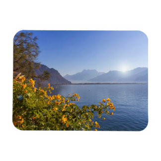 Flowers at Geneva lake, Montreux, Switzerland Magnet