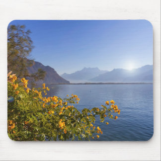 Flowers at Geneva lake, Montreux, Switzerland Mouse Pad