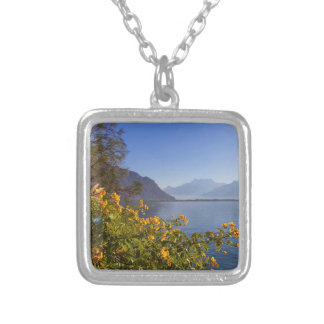 Flowers at Geneva lake, Montreux, Switzerland Silver Plated Necklace
