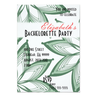 Flowers Bachelorette Party Green 3 Invitation
