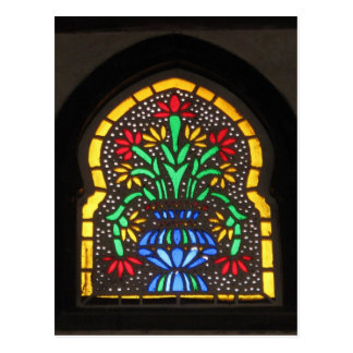Flowers beautiful Ottoman Stained glass window Postcard