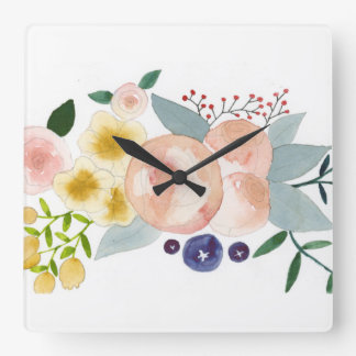 Flowers, Berries, and Leaves Watercolor Clock