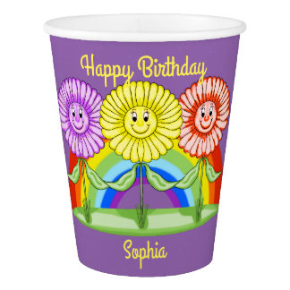 Flowers Birthday Paper Cups (Customizable)