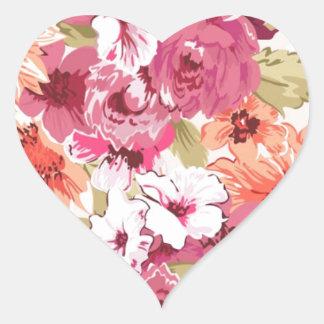 Flowers bloom heart sticker