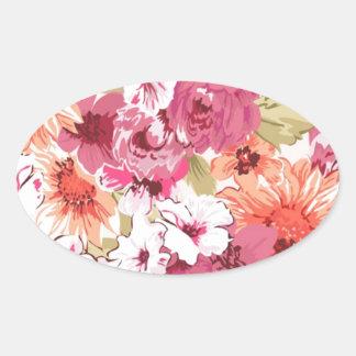 Flowers bloom oval sticker