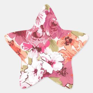 Flowers bloom star sticker