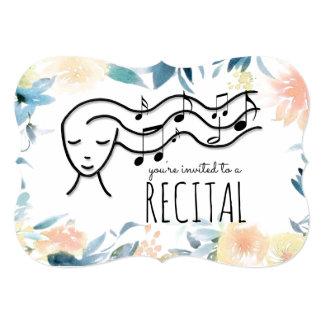 flowers border music recital card
