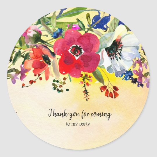 Flowers bouquet for all occassions classic round sticker