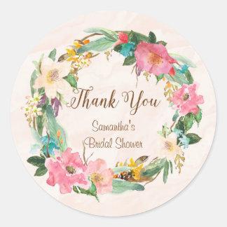Flowers Bridal Shower Thank You Sticker