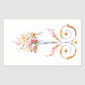flowers brush rococo painting romantic elegant vin rectangular sticker