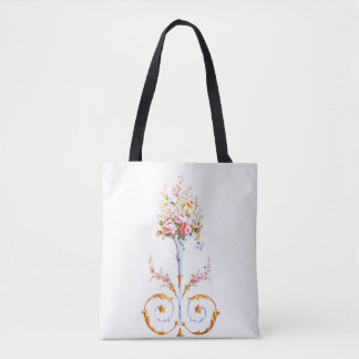 flowers brush rococo painting romantic elegant vin tote bag