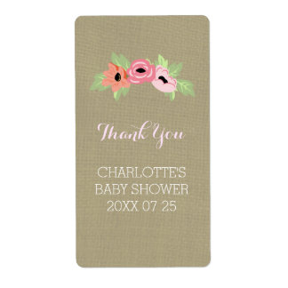 Flowers & Burlap Baby Shower Favor Shipping Label