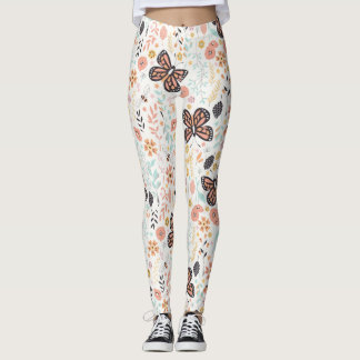 Flowers Butterflies And Bees Leggings