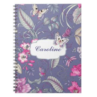 Flowers & Butterflies Custom Name Gift Notebooks