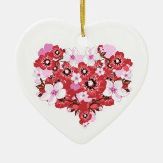 flowers ceramic heart decoration