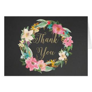 Flowers Chalkboard Thank You Card