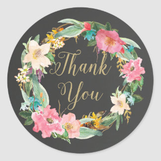 Flowers Chalkboard Thank You Sticker