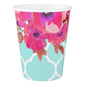 Flowers chevron modern elegant baby shower paper cup