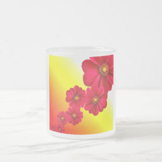 Flowers Colorful Pattern Spring Garden Dahlia Art Frosted Glass Mug