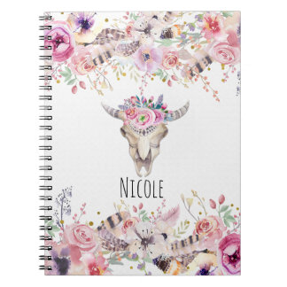 Flowers & Cow Skull Rustic Country Glam Boho Chic Notebook