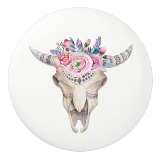 Flowers & Cow Skull Rustic Country Glam Ceramic Knob