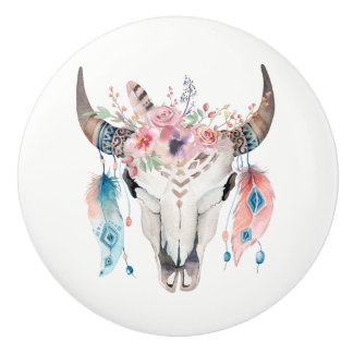 Flowers & Cow Skull Rustic Country Glam feather Ceramic Knob