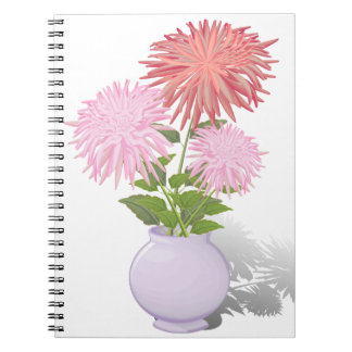 Flowers Dahlias in a vase Note Books