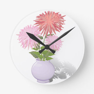 Flowers Dahlias in a vase Round Clock