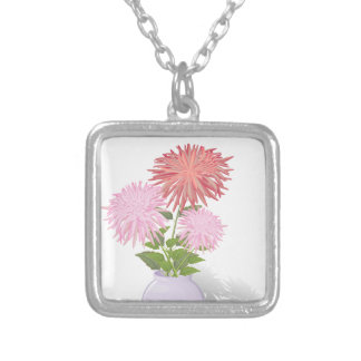 Flowers Dahlias in a vase Silver Plated Necklace