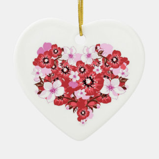 flowers ceramic heart decoration