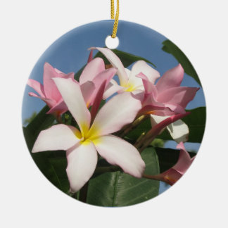 Flowers Double-Sided Ceramic Round Christmas Ornament