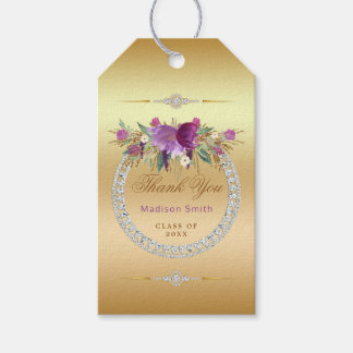 Flowers Diamonds Graduation Thank You Gold Gift Tags