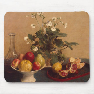 Flowers, dish with fruit and carafe, 1865 mouse pad