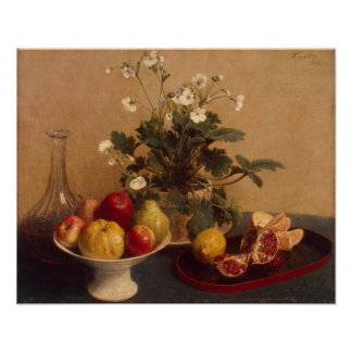 Flowers, dish with fruit and carafe, 1865 poster