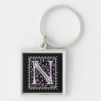 Flowers & Dots Monogram 'N' Key Ring