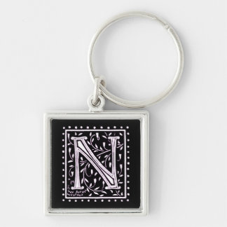 Flowers & Dots Monogram 'N' Silver-Colored Square Key Ring