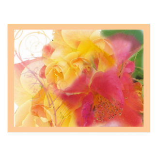 Flowers dressed in pastel post cards