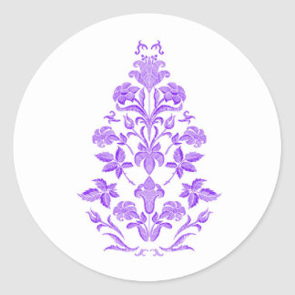 Flowers embroidery classic round sticker