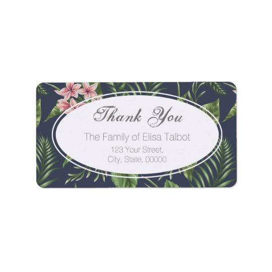 Flowers Family Thank you Address Label