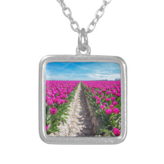 Flowers field with purple tulips and path silver plated necklace