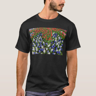 Flowers field with red blue tulips and hyacinths T-Shirt