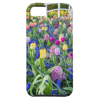 Flowers field with tulips hyacinths and bridge iPhone 5 cover