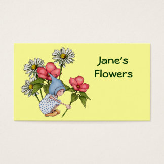 Flowers, Floral Shop: Cute Gnome Girl, Daisies Business Card