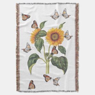Flowers Floral Sunflower Butterflies Throw Blanket