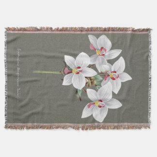 Flowers Floral Tropical Orchids Throw Blanket