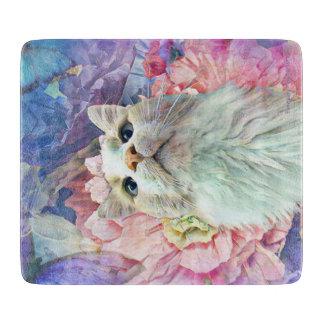 """Flowers & Flutterbys 6"""" x 7"""" Glass Cutting Board"""